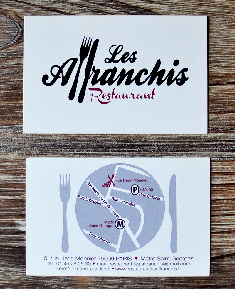 Carte De Visite Bistrot Les Affranchis C Tendance Food