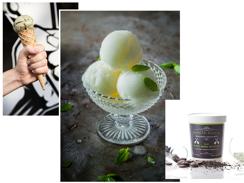 Glaces Glazed - Photo du milieu : Sorbet Basilic Instinct ©Glaces by Glazed - Hachette cuisine - Coralie Ferreira / Virginie Garnier