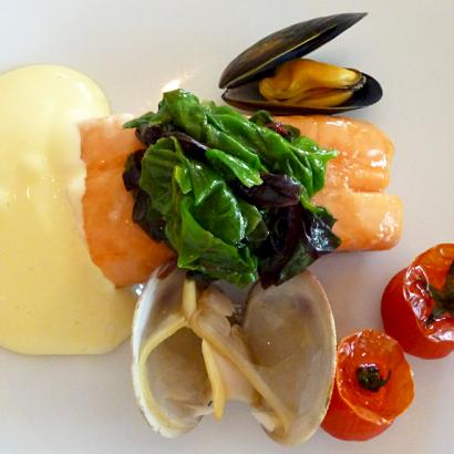 Saumon, coquillages et tomates confites chez Jean-Luc Tartarin