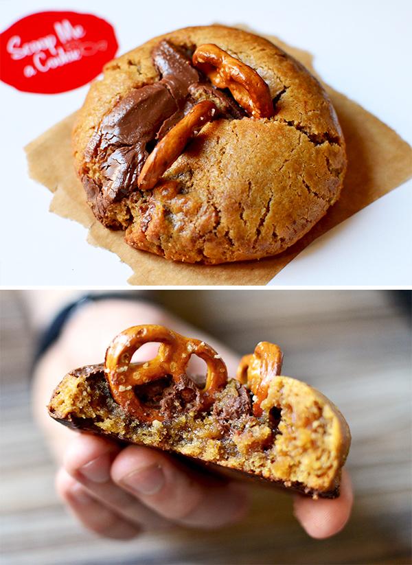 """Cookie """"Je t'épouse dans l'heure"""" (Peanut butter, chocolat au lait & bretzel) - Scoop me a cookie ©TendanceFood.com"""