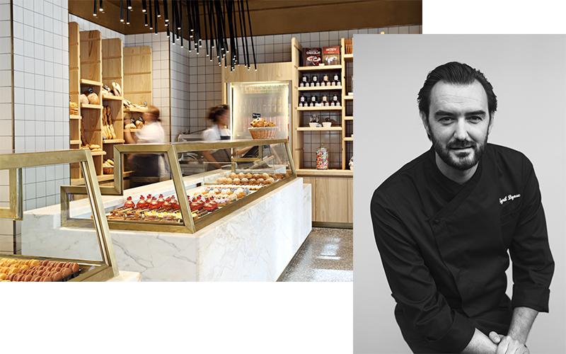 A g. : La Pâtisserie Cyril Lignac (75016) ©Yann Deret / A droite : Chef Cyril Lignac ©Arthur Delloye